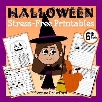 Halloween NO PREP Printables - Sixth Grade Common Core Mat