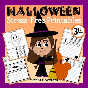 Halloween NO PREP Printables - Third Grade Common Core Mat