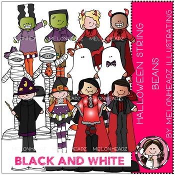 Melonheadz: Halloween clip art - String Beans - BLACK AND WHITE