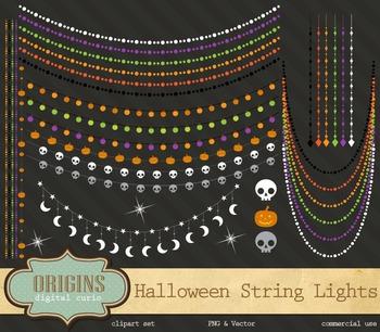 Halloween String Lights Clipart, Halloween Party Lights Clip Art