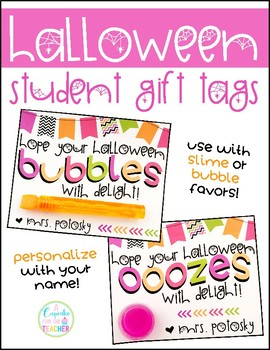 close Halloween Student Gift Tags for Slime or Bubbles Editable  sc 1 st  Teachers Pay Teachers & Halloween Student Gift Tags for Slime or... by A Cupcake for the ...