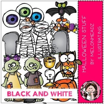 Melonheadz: Halloween Stuff clip art - BLACK AND WHITE
