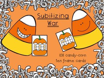 Halloween Subitizing Center Games - War - Sort - Pumpkin/Candy Corn Dot Cards