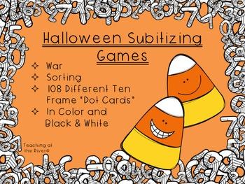 Halloween Subitizing Center Games - War - Sort - Pumpkin/C
