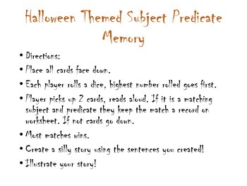 Halloween Subject Predicate Memory