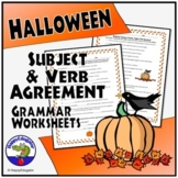 Halloween Subject Verb Agreement Grammar Worksheet