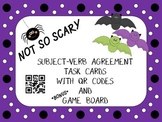 Halloween Subject-Verb Agreement Task Cards with QR codes & Game Board