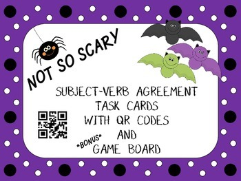 Halloween Subject-Verb Agreement Task Cards with QR codes