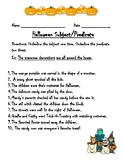 Halloween Subject and Predicate