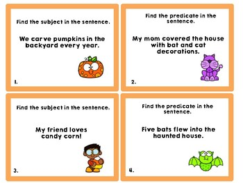 Halloween Subjects and Predicates