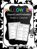 Halloween Activity: Subjects and Predicates Activity
