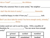 Halloween Substituting Verbs for Said