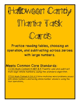 Halloween Subtracting Large Numbers Task Cards