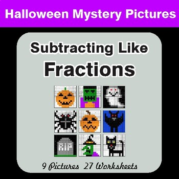 Halloween: Subtracting Like Fractions - Color-By-Number Math Mystery Pictures