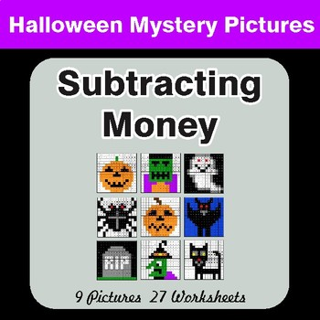 Halloween Math: Subtracting Money - Color-By-Number Math Mystery Pictures