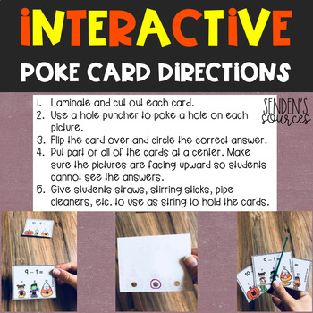 Halloween Subtracting Within 10 Poke Task Cards