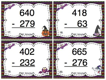 Halloween Subtraction (3 Digit Numbers) Task Cards