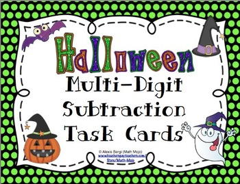 Halloween Subtraction (4 Digit Numbers) Task Cards