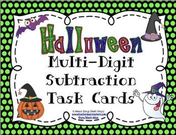 Halloween Subtraction (4 Digit Numbers) Task Cards