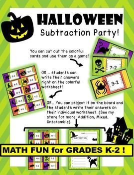 Halloween Subtraction Card Party and Worksheets