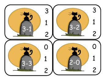 Halloween Subtraction Clip Cards