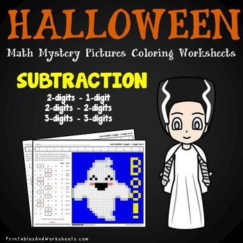 Halloween Subtraction Worksheets, Math Mystery Pictures Coloring Pages