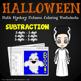 Halloween Subtraction Worksheet, Math Mystery Picture Subtraction Coloring Pages