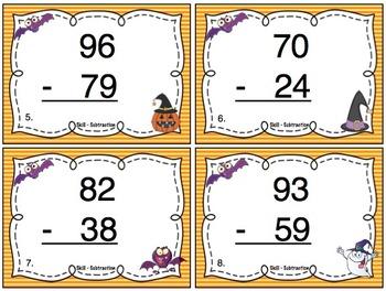 Halloween Subtraction (Double Digit) Task Cards