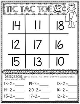 Halloween Subtraction Math Center Game