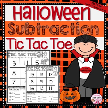 Halloween Subtraction Math Center Game