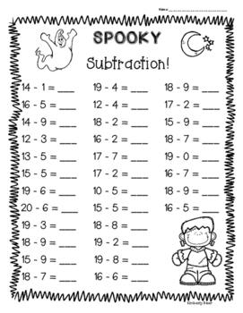 Halloween Subtraction Practice Worksheet Pack! - 3 Leveled Sheets - 1 & 2 digit