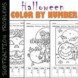 Halloween Subtraction Problems Color By Number Integers 10-1 Math Center Sheet