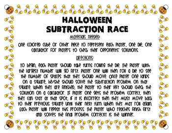 Halloween Subtraction Race
