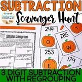 Halloween Subtraction Scavenger Hunt: 3 digit subtraction with regrouping