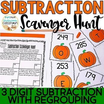 Halloween Subtraction Scavenger Hunt: 3 digit subtraction