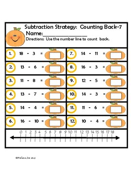 Subtraction Strategies Facts to 20 Halloween Theme