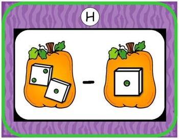 Halloween Subtraction {Subitizing with Dice}