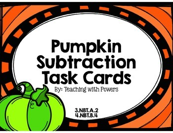 Pumpkin Subtraction Task Cards