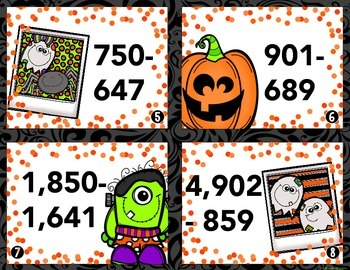 Halloween Subtraction Task Cards