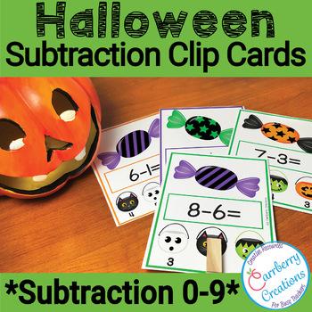 Halloween Subtraction Task Cards Center