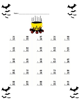 Halloween Subtraction With Regrouping Math Worksheets with a Key