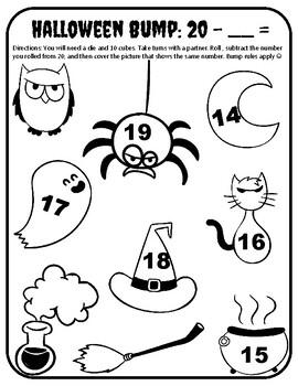 Halloween Subtraction Within 20 Halloween Subtraction 1-20 Game Halloween Bump