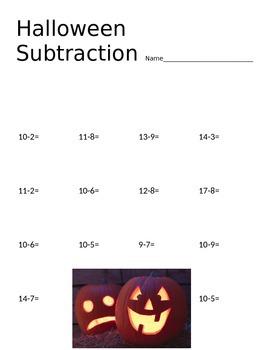 Halloween Subtraction Worksheets