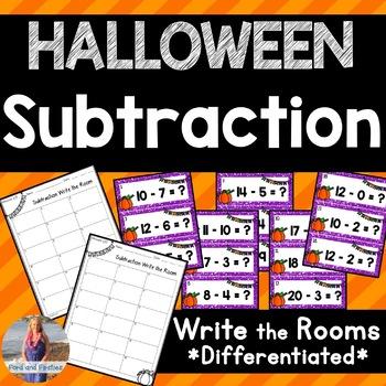 Halloween Subtraction Write the Room!