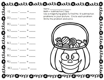 Halloween Subtraction {freebie}