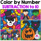 Halloween Subtraction to 10 Color by Number | Halloween Co