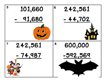Halloween Subtraction with Re-grouping scavenger hunt