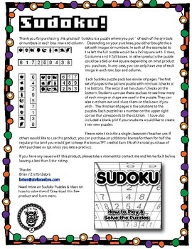 Sudoku Math Activity Level 3 - Halloween