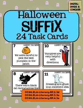 Halloween Suffix Task Cards!