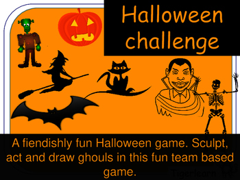 Halloween Super Challenge team card game cards. Draw, act and sculpt your ghoul